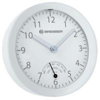 Ceas de perete cu higrometru Bresser MyTime Mini, ecran analogic, Alb