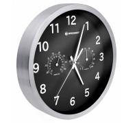 Ceas de perete cu statie meteo MyTime Bresser, ecran analogic, Negru/Argintiu