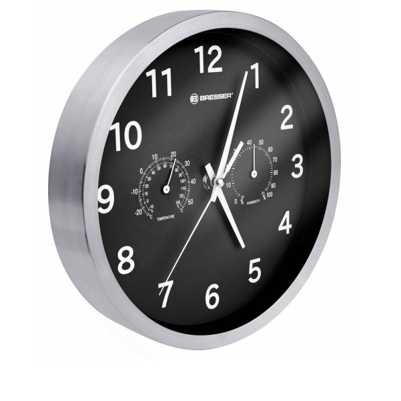 Ceas de perete cu statie meteo MyTime Bresser, ecran analogic, Negru/Argintiu 2021 shopu.ro
