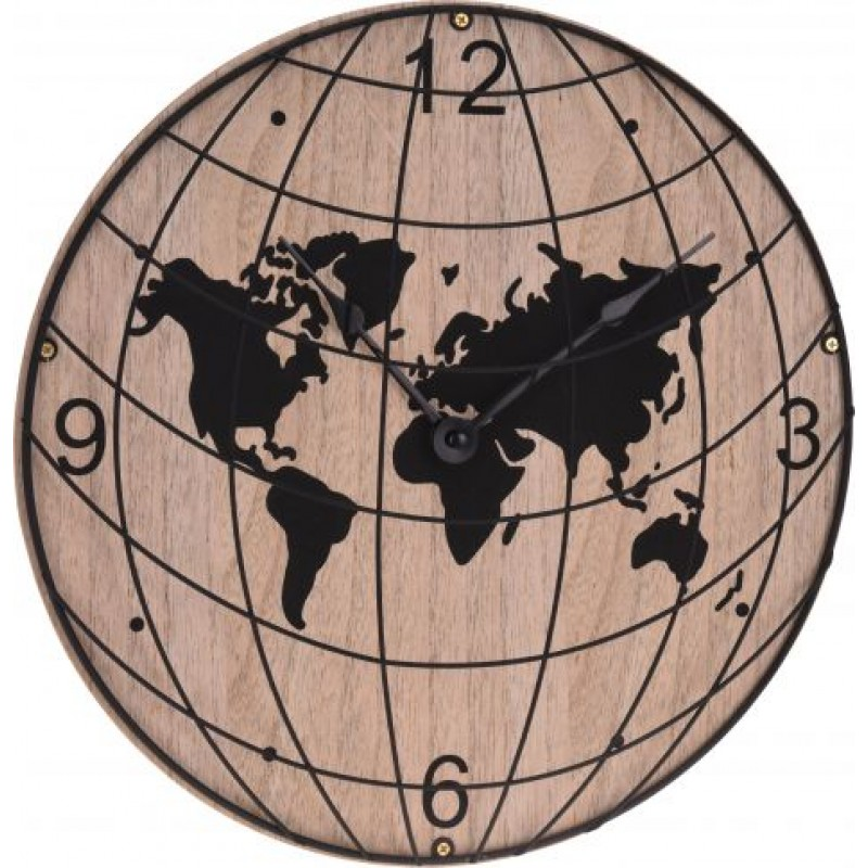 Ceas de perete, 30 cm, lemn, model harta metalica 2021 shopu.ro