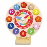 Jucarie educativa ceas forme si numere Jumini, 22 x 22 x 3.5 cm, 14 piese, lemn, 3 ani+