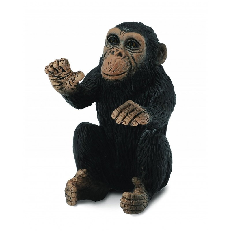 Figurina Cimpanzeu pui Collecta, 3 x 3.5 cm, plastic cauciucat, 3 ani+, Negru/Maro 2021 shopu.ro