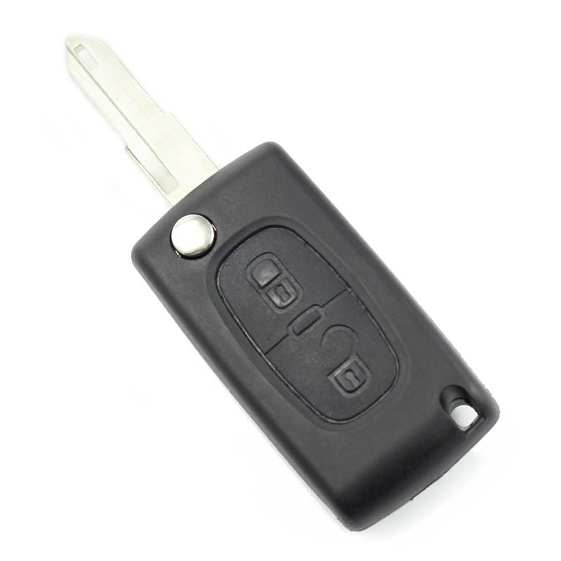 Carcasa cheie Citroen/Peugeot 206 Carguard, 2 butoane, suport baterie, tip briceag, Negru 2021 shopu.ro