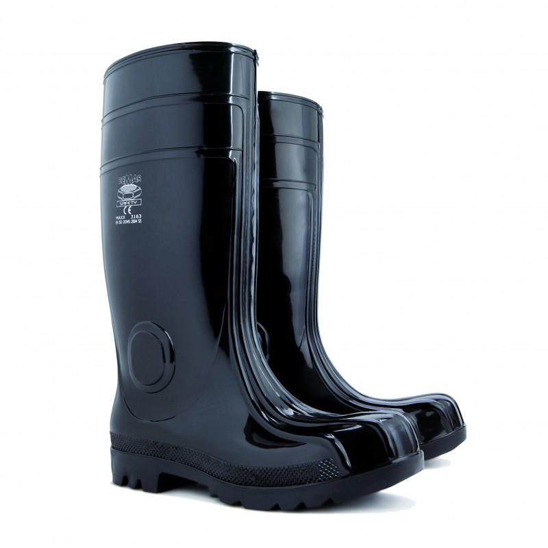 Cizme PVC pentru protectie, marimea 45, captuseala tricot, negru 2021 shopu.ro