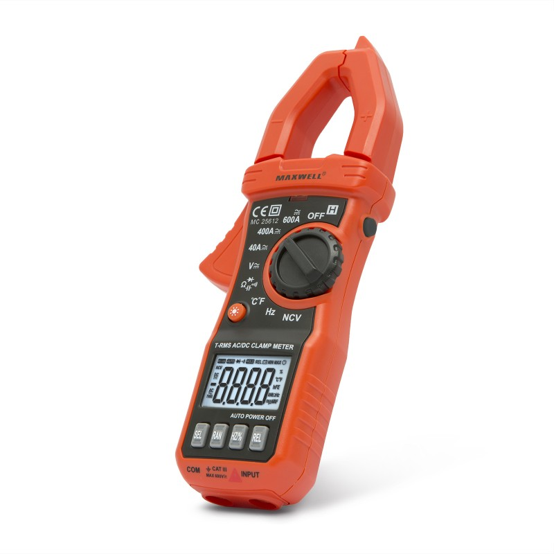 Clampmetru digital Maxwell, baterie 3 x AAA, test dioda, semnalizare sonora, True RMS, iluminare afisaj 2021 shopu.ro