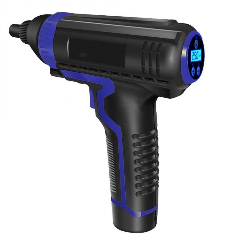 Compresor pentru umflat roti Siegbert, 2000 mAh, afisaj digital, fara fir, incarcare USB, 10 bari, tip pistol 2021 shopu.ro