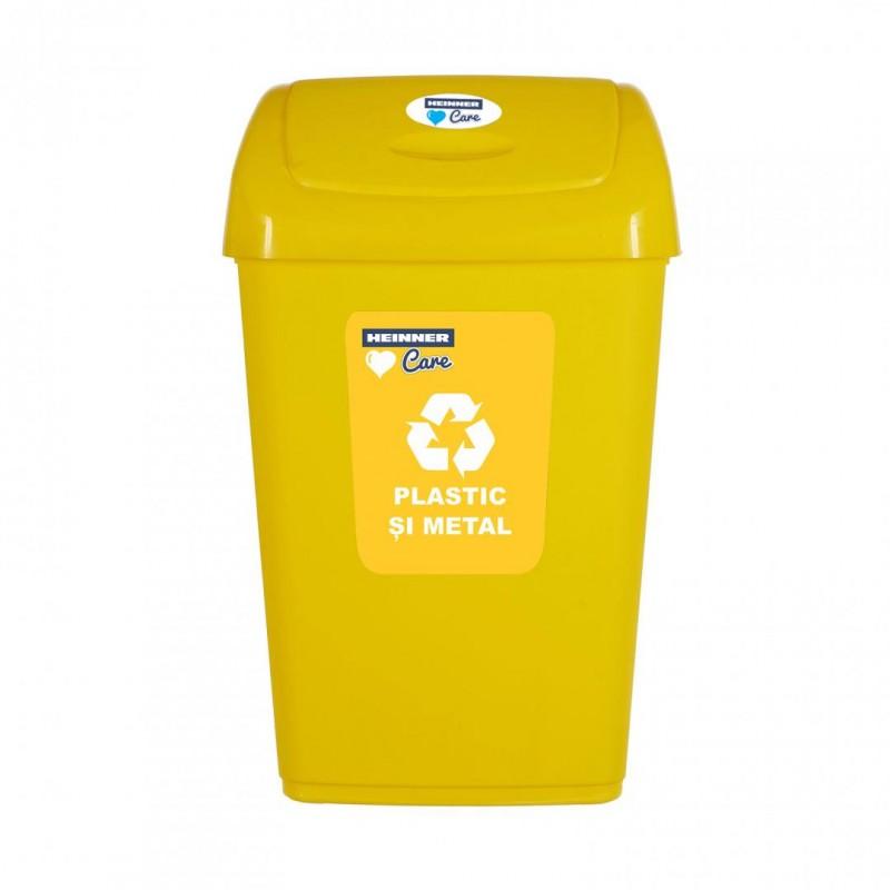 Cos de gunoi Heinner Care, 310 x 245 x 530 mm, 25 L, plastic, capac batant, reciclare selectiva, Galben shopu.ro