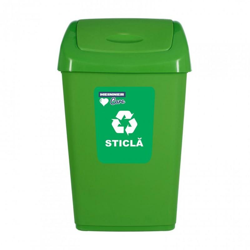 Cos de gunoi Heinner Care Kara, 31 x 24 x 53 cm, 25 L, plastic, capac batant, reciclare selectiva, Verde shopu.ro