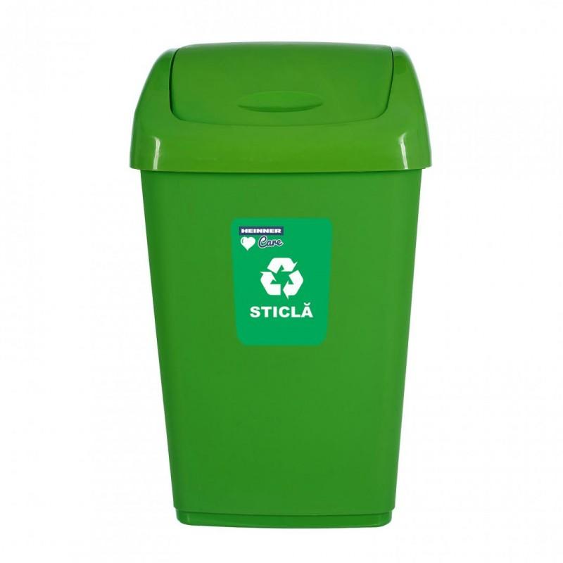Cos de gunoi Heinner Care, 40 x 31 x 65 cm, 50 L, plastic, capac batant, reciclare selectiva, Verde shopu.ro