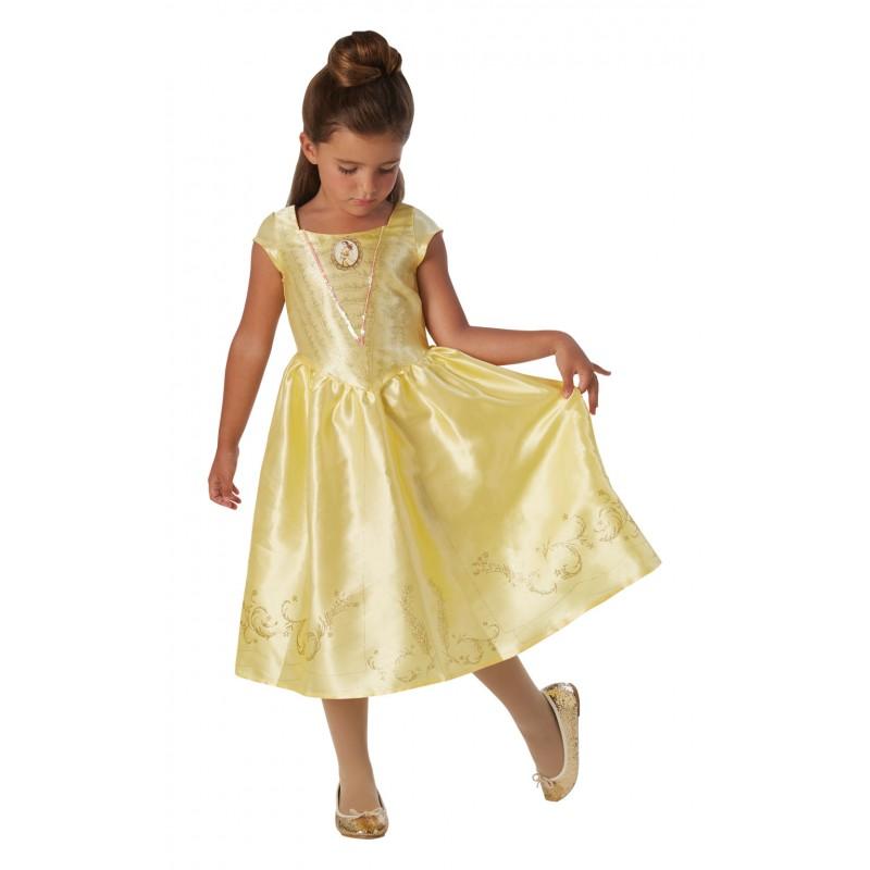 Costum Disney Clasic Belle, varsta 5-6 ani, marime M, Galben 2021 shopu.ro