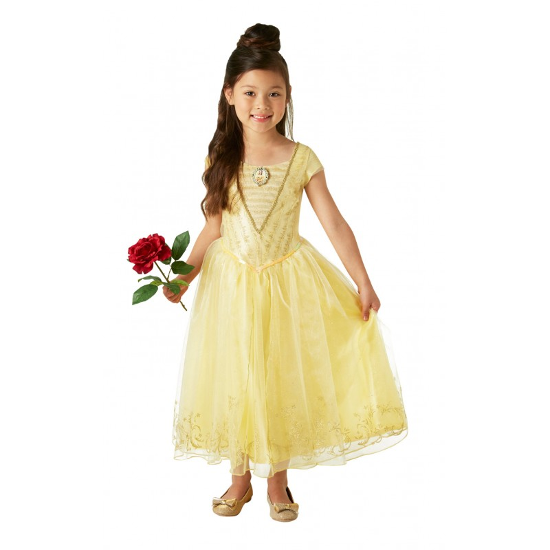Costum Disney Deluxe Belle, varsta 7-8 ani, marime L, Galben 2021 shopu.ro