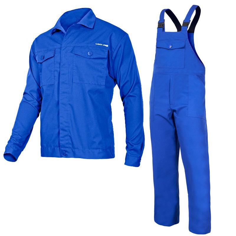 Costum lucru antistatic, 35% bumbac, 6 buzunare, talie, bretele si mansete ajustabile, M/B