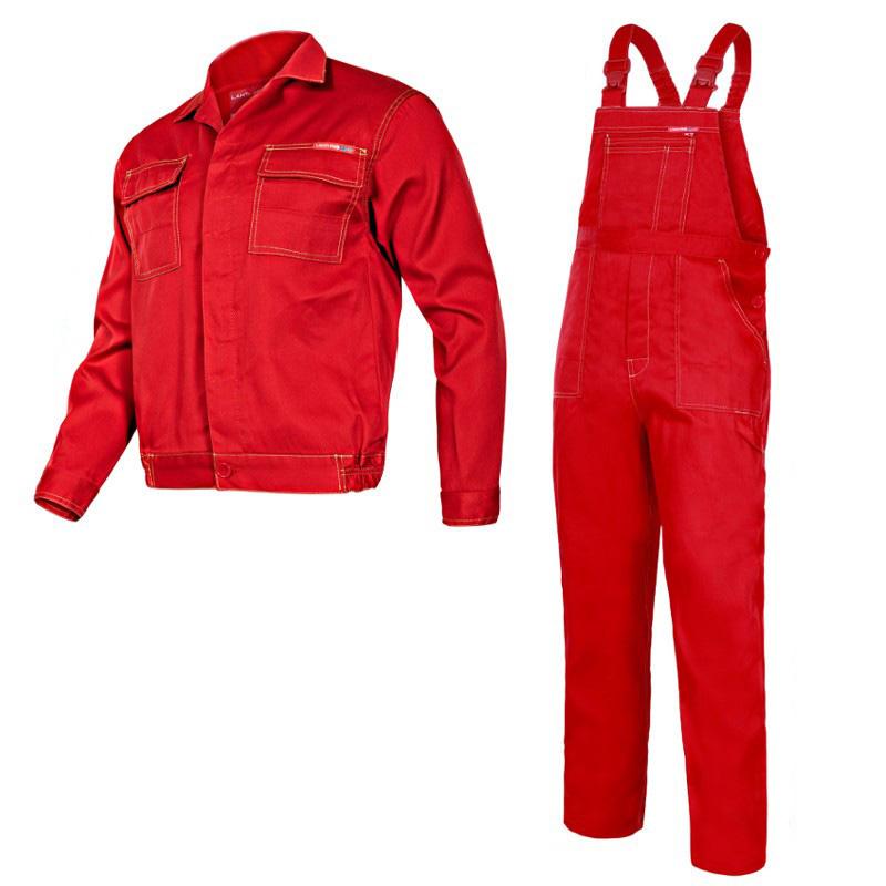 Costum lucru subtire, 65% poliester, orificii de ventilatie, cusaturi duble, marime M/H-176, Rosu shopu.ro