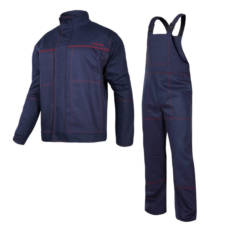 Costum sudura intarit, 100% bumbac gros ignifug, 6 buzunare, bretele si mansete ajustabile, marime M/B shopu.ro