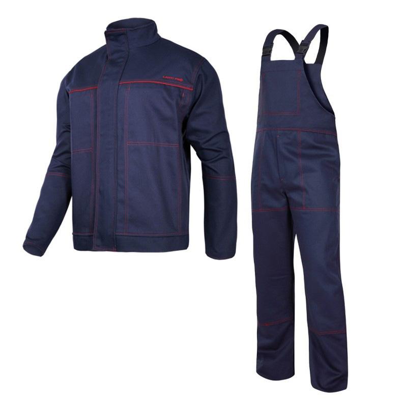 Costum sudura intarit, 100% bumbac gros ignifug, 6 buzunare, bretele si mansete ajustabile, marime XL/A