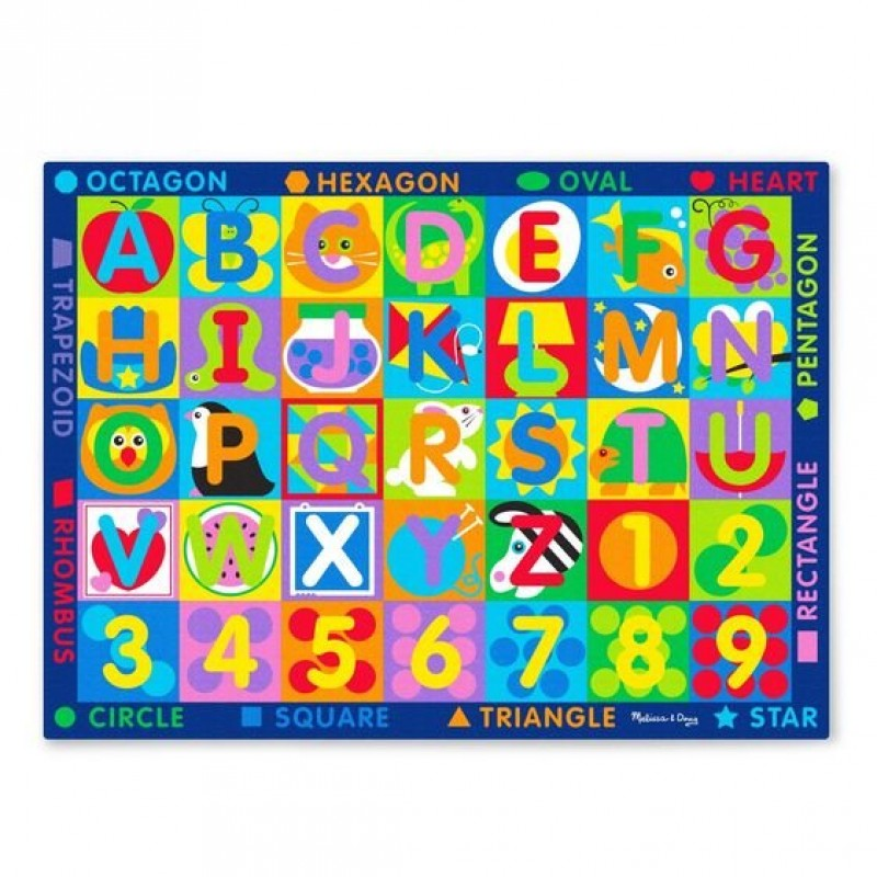 Covor de joaca Litere si forme geometrice Melissa & Doug, 147 x 200 cm, 3 ani+ 2021 shopu.ro
