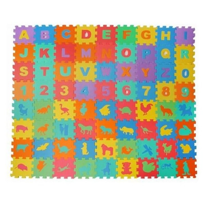Covor puzzle Iso Trade, 16 x 16 cm, spuma, 72 piese, 6 luni+, Multicolor 2021 shopu.ro