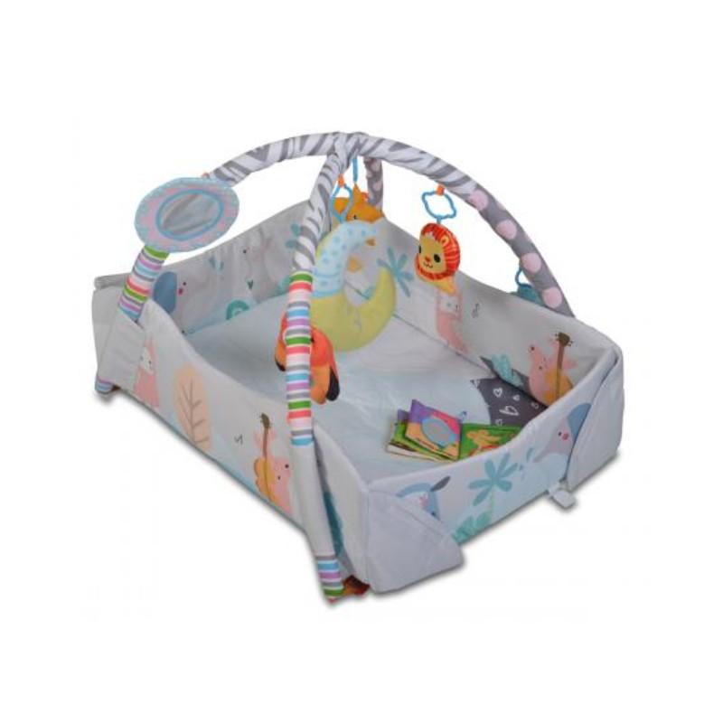 Covoras de joaca Oasis Cangaroo, 115 x 98 x 50 cm, poliester, 6 luni+, Gri
