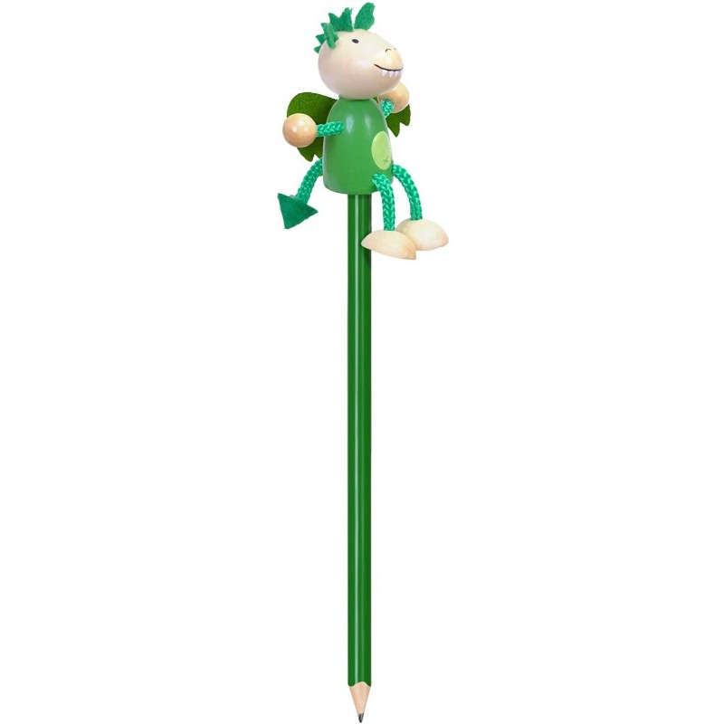 Creion cu figurina Dragonul verde Fiesta Crafts, lemn, pictat manual 2021 shopu.ro