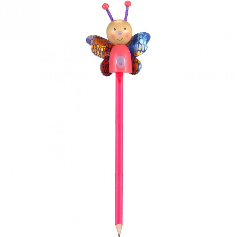 Creion cu figurina Fluturas Fiesta Crafts, lemn, pictat manual 2021 shopu.ro
