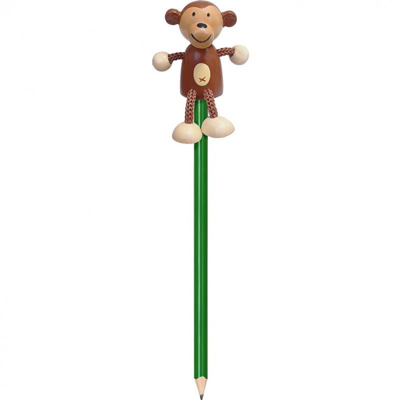 Creion cu figurina Maimutica Fiesta Crafts, lemn, pictat manual 2021 shopu.ro