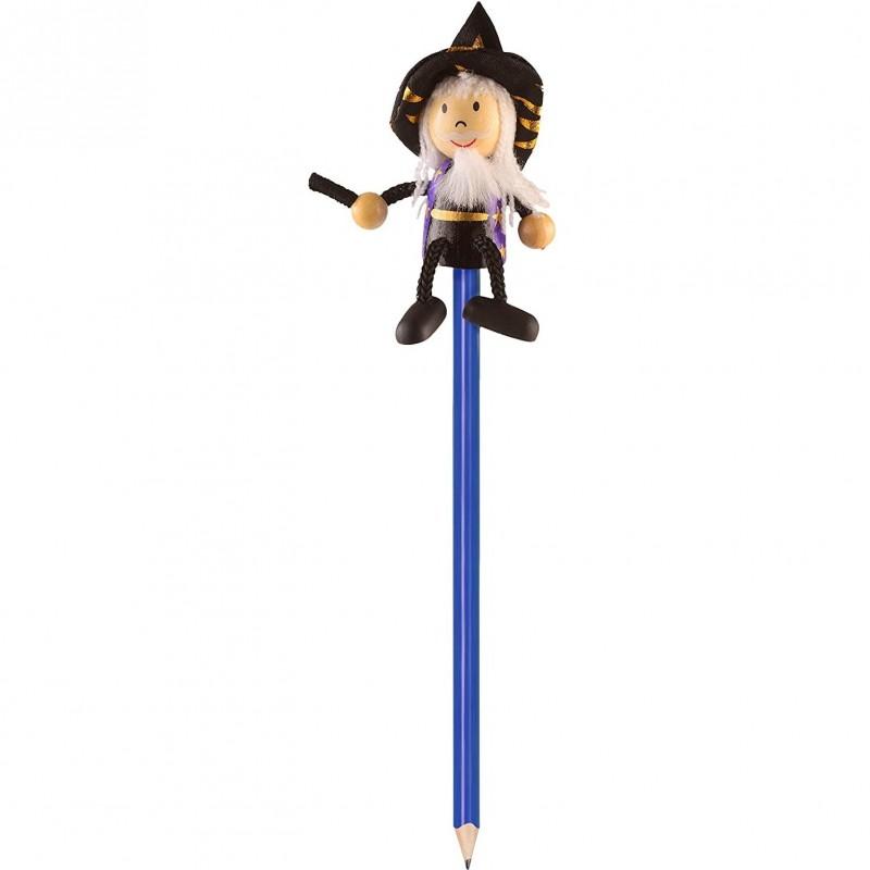 Creion cu figurina Vrajitor Fiesta Crafts, lemn, pictat manual, Albastru 2021 shopu.ro