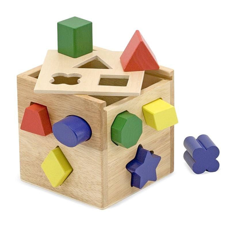 Cub din lemn cu forme de sortat Melissa and Doug, 12 piese 2021 shopu.ro