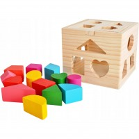 Jucarie educativa Cub Iso Trade, 12 piese, 14 x 14 x 14 cm, lemn, 3 ani+, Multicolor