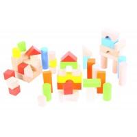 Set cuburi colorate pentru construit BigJigs, 50 cuburi, lemn, 12 luni+