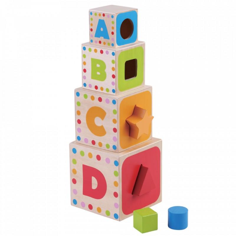 Set 4 cuburi cu litere/cifre Jumini, 14.5 x 14.5 x 40 cm, lemn, 12 luni+, Multicolor 2021 shopu.ro