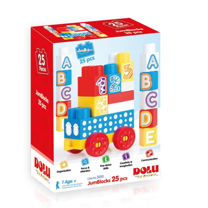 Cuburi de construit din plastic Dolu, 25 piese, 1 an+