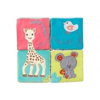 Jucarie educativa cub girafa Sophie Vulli, 8 x 8 cm, plus, 1 an+