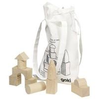 Set de constructie Cuburi Goki, 56 piese, lemn, 3 ani+