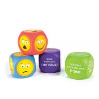 Cuburi pentru conversatii Emoji Learning Resources, 4 cm, 3 ani+