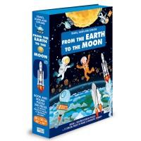 Carte pentru copii Cunoaste, invata si exploreaza de la pamant pana la luna Sassi, 14 pagini, puzzle inclus, 200 piese, limba engleza, 6 ani+