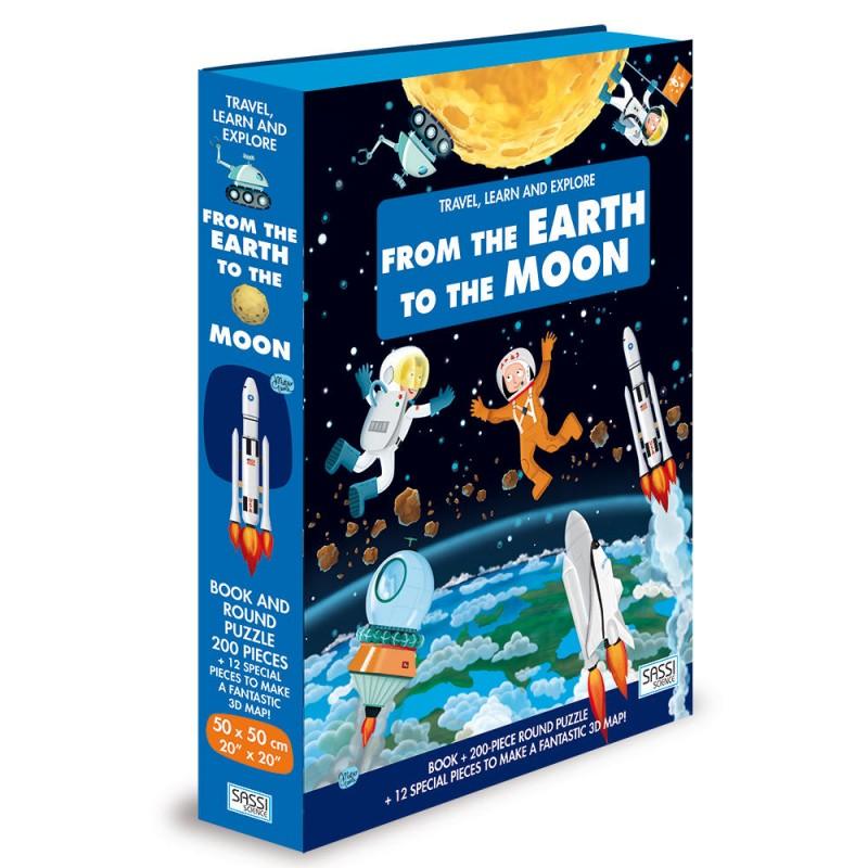 Carte pentru copii Cunoaste, invata si exploreaza de la pamant pana la luna Sassi, 14 pagini, puzzle inclus, 200 piese, limba engleza, 6 ani+ 2021 shopu.ro