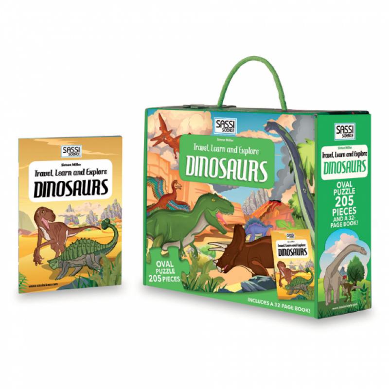 Carte pentru copii Cunoaste si exploreaza Dinozauri Sassi, 32 pagini, puzzle inclus, 205 piese, limba engleza, 6 ani+ 2021 shopu.ro