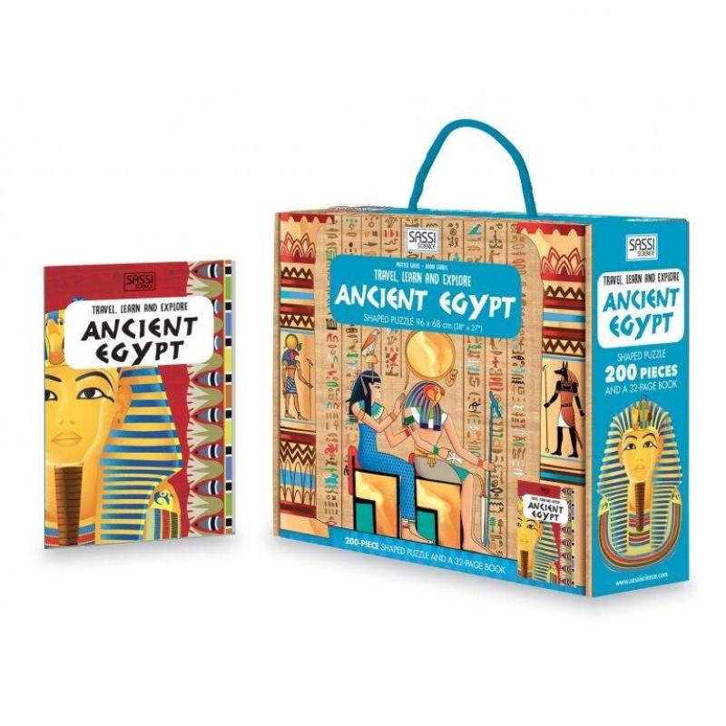 Carte pentru copii Cunoaste si exploreaza Egiptul Antic Sassi, 32 pagini, puzzle inclus, 200 piese, limba engleza, 6 ani+ 2021 shopu.ro