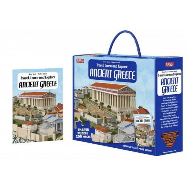 Carte pentru copii Cunoaste si exploreaza Grecia Antica Sassi, 32 pagini, puzzle inclus, 200 piese, limba engleza, 6 ani+