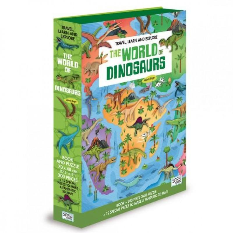 Carte pentru copii Cunoaste si exploreaza Lumea dinozaurilor Sassi, 14 pagini, puzzle inclus, 212 piese, limba engleza, 6 ani+