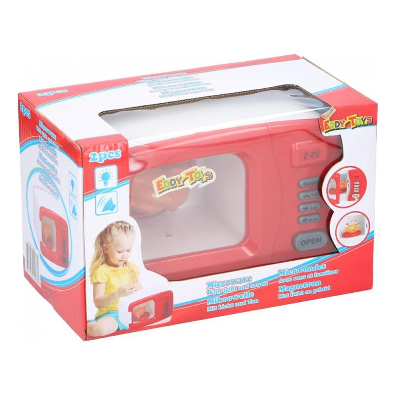 Jucarie cuptor cu microunde Eddy Toys, plastic, figurina pui inclusa, 3 ani+, Rosu/Alb