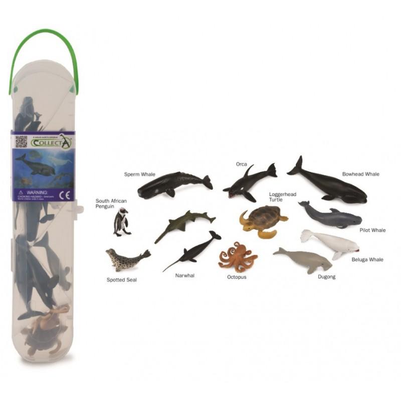 Set 12 figurine animale marine Collecta, plastic cauciucat, cutie inclusa, 3 ani+, Multicolor