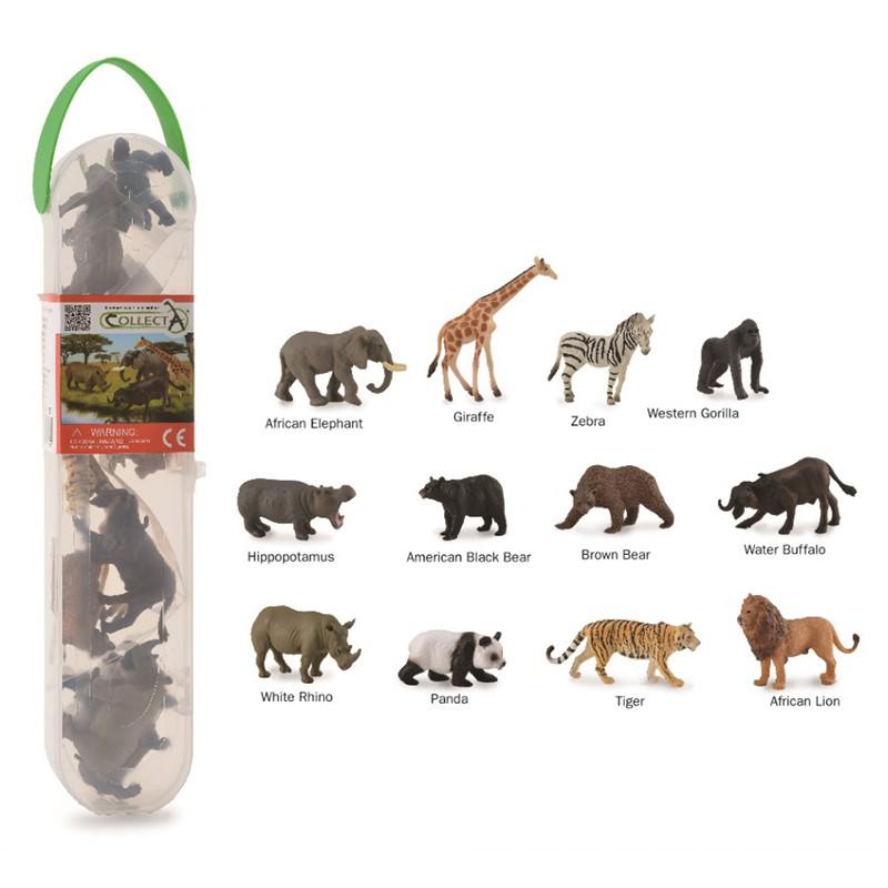 Set 12 figurine animale salbatice Collecta, plastic cauciucat, cutie inclusa, 3 ani+ 2021 shopu.ro