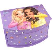 Cutie bijuterii Purple Top Model Depesche, 19.2 x 14 cm, 4 compartimente, 2 sertare