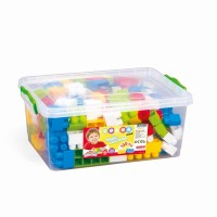Cutie depozitare cu 130 cuburi, piesele sunt viu colorate, 18  x 43 cm x 29 cm