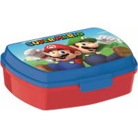 Cutie pentru sandwich Super Mario SunCity, 16.5 x 12.5 x 6 cm, plastic, 3 ani+, Albastru/Rosu