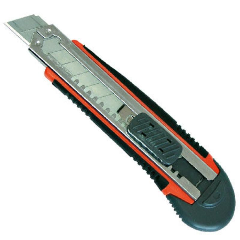 Cutter cu 3 lame Proline, 18 mm, plastic cauciucat, fixare cu blocator 2021 shopu.ro