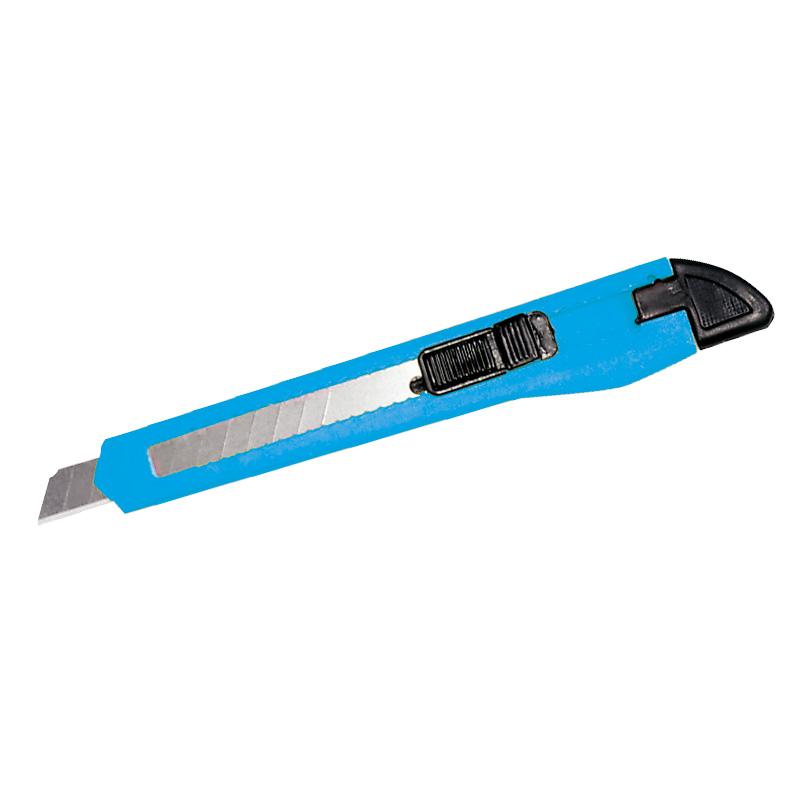 Cutter plastic Mega, 9 mm, buton blocare, Albastru 2021 shopu.ro