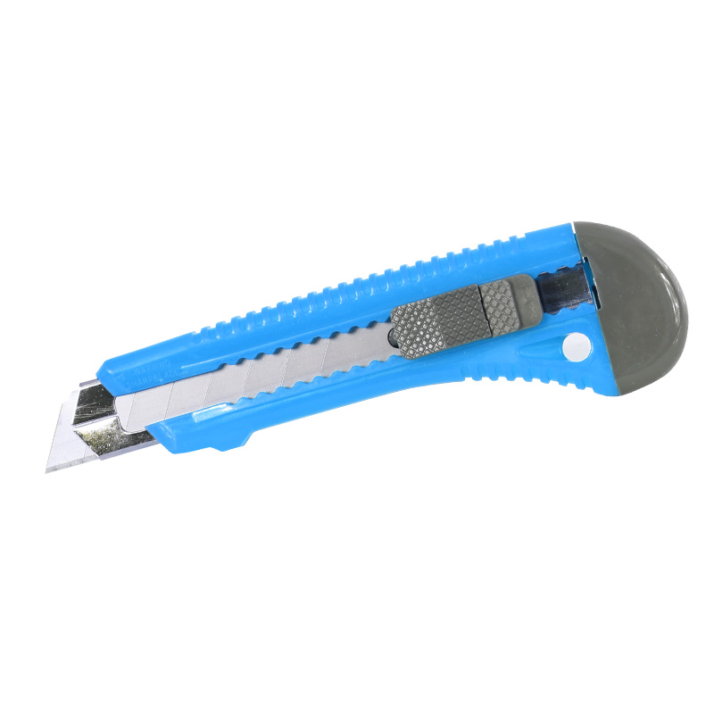 Cutter plastic cu buton blocare Mega, 18 mm, ghidaj, Albastru 2021 shopu.ro
