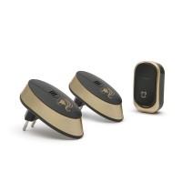 Sonerie fara fir Dual Wireless Delight, 12 V, 23 A, 32 melodii, raza actiune 100 m, 3 niveluri sonore, forma rotunjita, Negru/Auriu
